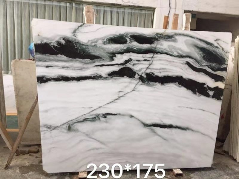 "Polished 30mm 70*26"" Panda White Marble Stone Slab For Kitchen"